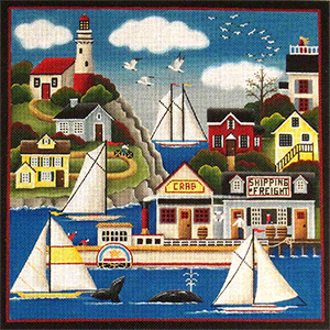 Lighthouse Harbor Hand Painted Needlepoint Canvas from Rebecca Wood