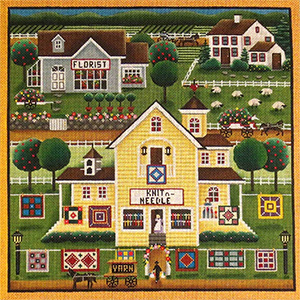 Stitchers Village Scene Hand Painted Needlepoint Canvas from Rebecca Wood
