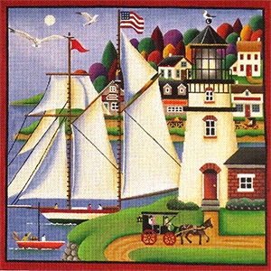 Set the Sails Hand Painted Needlepoint Canvas from Rebecca Wood
