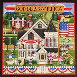 Patriotic Village Scene Hand Painted Needlepoint Canvas from Rebecca Wood