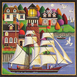 Morning in the Harbor Hand Painted Needlepoint Canvas from Rebecca Wood