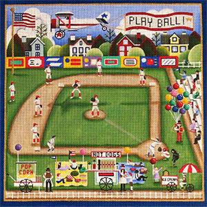 Play Ball Hand Painted Needlepoint Canvas from Rebecca Wood