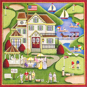 Golfing at the Shore Hand Painted Needlepoint Canvas from Rebecca Wood