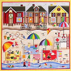 Beach Memories Hand Painted Needlepoint Canvas from Rebecca Wood