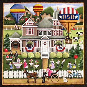 Hot Air Balloons Hand Painted Needlepoint Canvas from Rebecca Wood