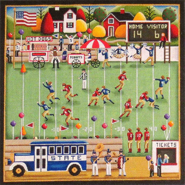 Football Village Hand Painted Needlepoint Canvas from Rebecca Wood