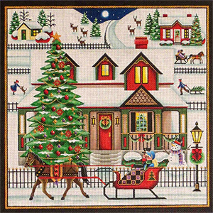 Sleigh Bells Hand Painted Needlepoint Canvas from Rebecca Wood