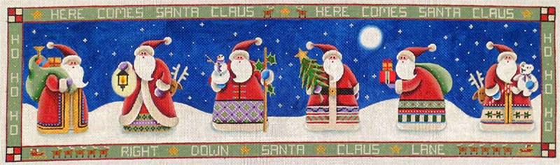 Here Comes Santa Clause Hand Painted Canvas from Rebecca Wood