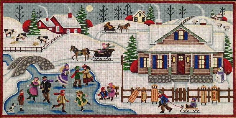 Winter Village Hand Painted Canvas from Rebecca Wood