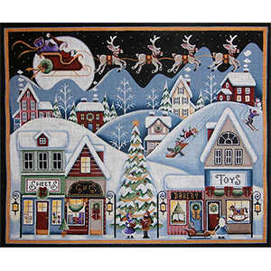 Christmas Eve Full Panel Hand Painted Canvas from Rebecca Wood