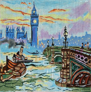 Cities - London - Hand Painted Needlepoint Canvas from Trubey Designs