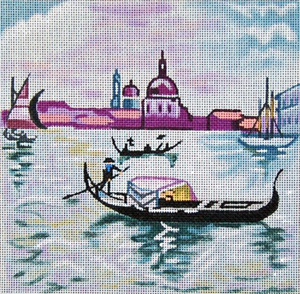 Cities - Venice - Hand Painted Needlepoint Canvas from Trubey Designs