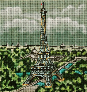 Cities - Paris - Hand Painted Needlepoint Canvas from Trubey Designs