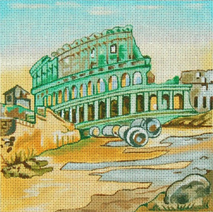 Cities - Rome - Hand Painted Needlepoint Canvas from Trubey Designs