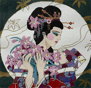 Geisha in the Moon Hand Painted Canvas
