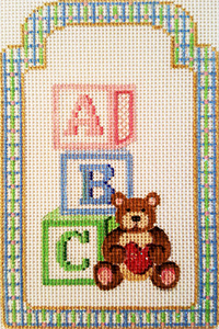 ABC Teddy Bear Gift Tag Hand-painted Needlepoint Canvas