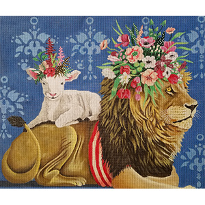 Lion and Lamb Hand Painted Needlepoint Canvas