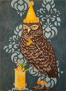 Party Owl Hand Painted Needlepoint Canvas