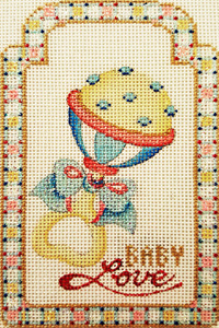 Baby Love Gift Tag Hand-painted Needlepoint Canvas