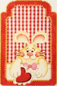 Rabbit with Heart Gift Tag Hand-painted Needlepoint Canvas