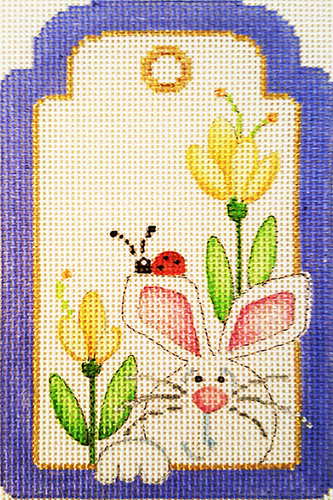 Rabbit in Tulips Gift Tag Hand-painted Needlepoint Canvas
