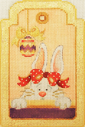 Lady Bunny with Easter Egg Gift Tag Hand-painted Needlepoint Canvas