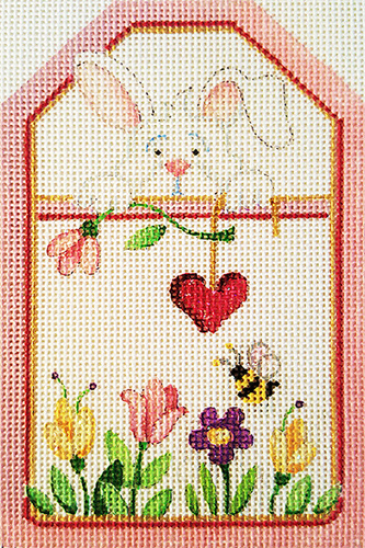 Bunny with Heart and Flowers Gift Tag Hand-painted Needlepoint Canvas