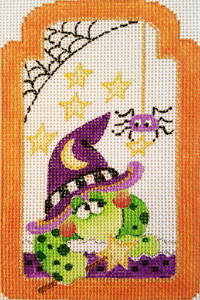 Frog Witch with Spider Gift Tag Hand-painted Needlepoint Canvas
