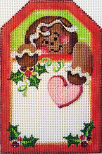 Gingerbread Man Gift Tag Hand-painted Needlepoint Canvas