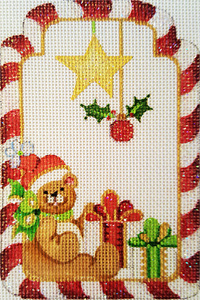 Teddy Bear with Gifts Gift Tag Hand-painted Needlepoint Canvas