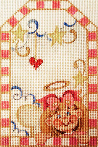 Angel Girl Gift Tag Hand-painted Needlepoint Canvas