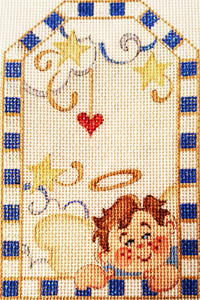 Angel Boy Gift Tag Hand-painted Needlepoint Canvas