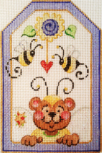 Bee with Heart Gift Tag Hand-painted Needlepoint Canvas