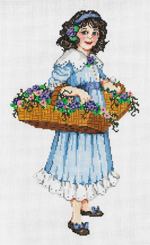 Violette - Stitch Painted Needlepoint Canvas