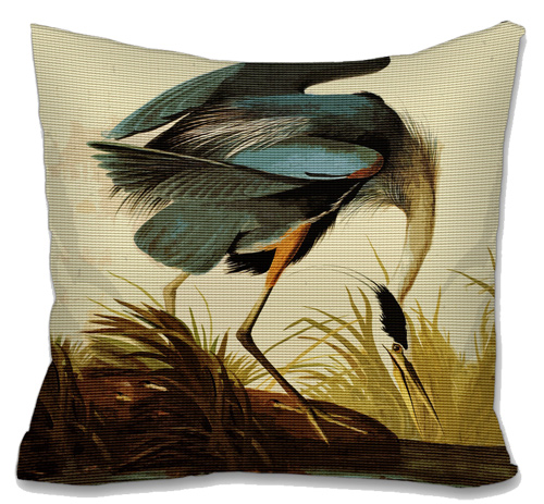 Audubon Great Blue Heron Needlepoint Cushion Canvas or Kit