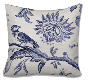 Flora and Fauna Toile Needlepoint Cushion Canvas or Kit