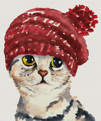 Cat in a Knit Hat Needlepoint Canvas