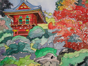 Japanese Tea Garden by Lillian Connelly Needlepoint Canvas