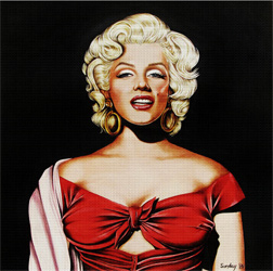 Marilyn in Red Needlepoint Canvas
