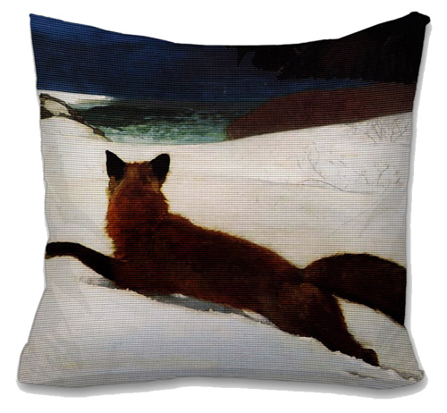 RedFox in Snow Needlepoint Cushion Canvas or Kit