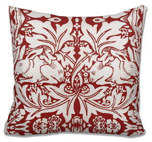 Red Rabbits Needlepoint Cushion Canvas or Kit