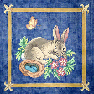 Bunny Hand Painted Needlepoint Pillow Canvas