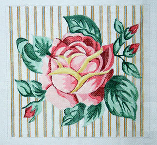 Rose on Ticking Hand Painted Needlepoint Pillow Canvas