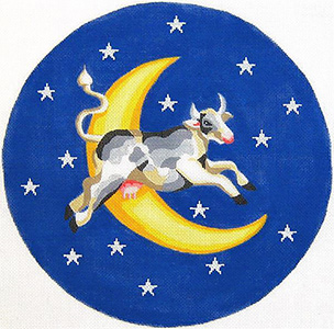 Cow Over Moon Hand Painted Needlepoint Pillow Canvas