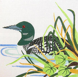 Loon Hand Painted Needlepoint Pillow Canvas