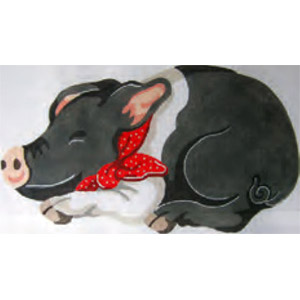Black Pig Hand Painted Needlepoint Pillow Canvas