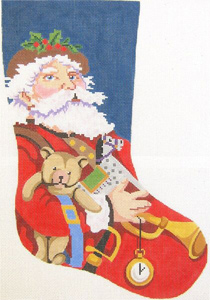 Father Christmas Hand Painted Needlepoint Christmas Stocking Canvas