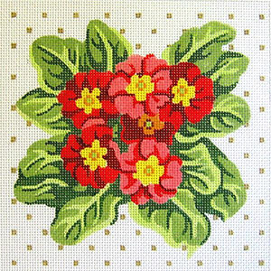 Primrose Cluster Hand Painted Needlepoint Cushion Canvas