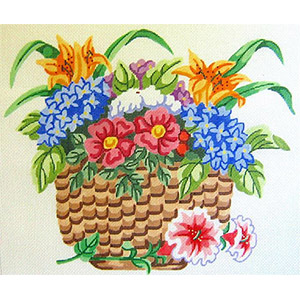 Nantucket Flower Basket Hand Painted Needlepoint Cushion Canvas