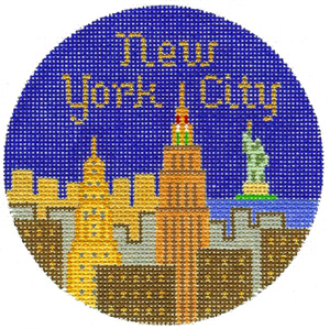 New York City Hand Painted Miniature Needlepoint Canvas